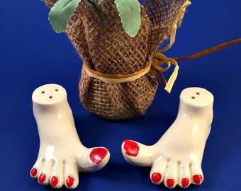 Vintage Womens Ladies Feet Pepper Shakers Japan Retro Ceramic Painted Toe Nails Red