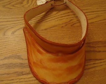 Light and Medium Tan Unique  Handcrafted Adult Leather Visor Large Shell Design with  tie back #77