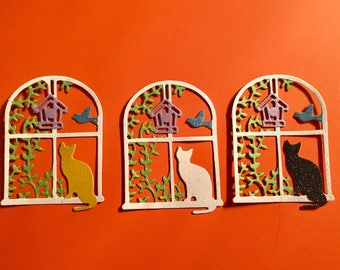 Nice Glittered Cat In Window Die Cuts  - Set of 3