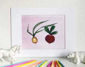 Happy Veggies on Pink, Silly Food Art