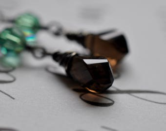 Smoky Quartz and Swarovski Crystal Earrings, Oxidized Patina