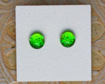Dichroic Glass Earrings, Petite, Spring Green  DGE-1269