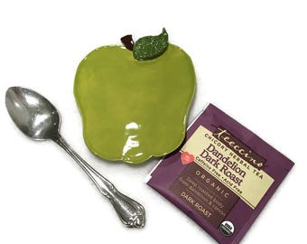 Green Apple Spoon Rest / Jewelry Dish - Granny Smith - Ready to Ship