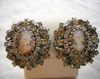 Vintage Hobe' Cameo Clip Earrings Carved Shell Smoke Crystal Yellow Rhinestones FREE SHIPPING