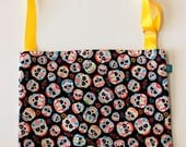 Washable, Eco-Friendly Car Trash Bag in Sugar Skulls Fabric
