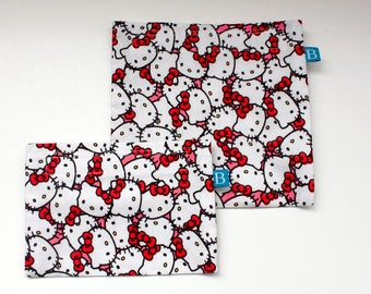 Reuseable Eco-Friendly Set of Snack and Sandwich Bags in Hello Kitty Fabric