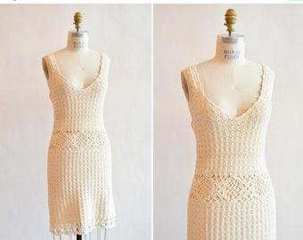 25% off Storewide // Vintage 1990s CROCHET summer dress