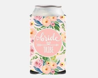 Pink Bachelorette Party Favors Bachelorette Can Coolers Pink Bachelorette Favors Floral Bridesmaid Gift Ideas Pink Wedding Favors WZ