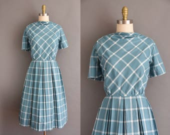 vintage 1950s dress. Cay Artley 50s blue soft cotton plaid pleated skirt dress