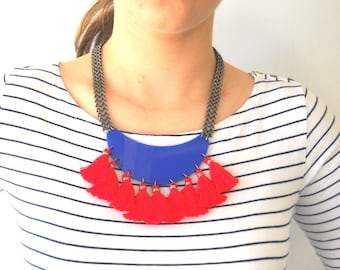 Tassel Necklace, Fringe Statement Necklace, Red and Blue Plexiglass Trendy jewelry, Fan Necklace