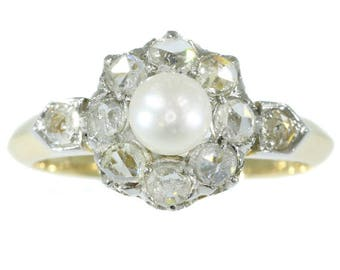 White pearl diamond engagement ring 18k yellow gold rose cut diamonds antique ring Victorian jewelry