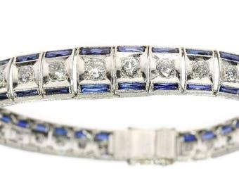 Blue sapphire diamond bracelet platinum old European brilliant cut diamonds 3ct Art Deco vintage wedding bracelet 1920s jewelry