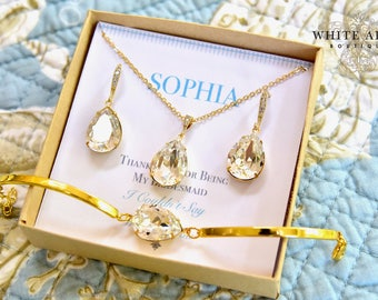 Gold Bridesmaid Jewelry Set, Personalized Bridesmaid Gift, Bridesmaid Earrings, Necklace and Bracelet Set, Wedding Jewelry Set