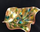 Leaf vessel valet large catalpa leaf imprint polymer clay art for home