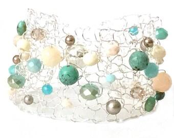 Turquoise Arm Cuff Bracelet Beaded Bracelets Peach Bracelet Summer jewelry colorful bracelet mermaid bracelet handmade jewelry gift for her
