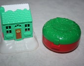 Two 2 Vintage Polly Pocket, McDonald's Happy Meal Toys, 1995 Green House, 1993 Locket Holiday