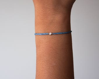 Diamond friendship bracelet - braided friendship bracelet Blue