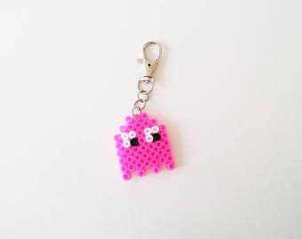 Pink Ghost Keychain, 80s, Pacman and Ghost, Accessories, Keychains, Handmade, Hama Beads, Trending, Trending items