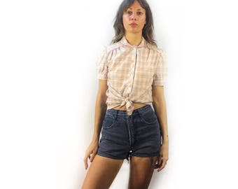 Vintage Harmal New York plaid Peter Pan collar short sleeve button up blouse // retro mod boho hippie // 70s 80s // puffy shoulder top