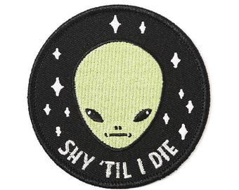 Shy Guy Alien iron-on embroidered Patch by Crywolf // handmade in Canada // back to school trend