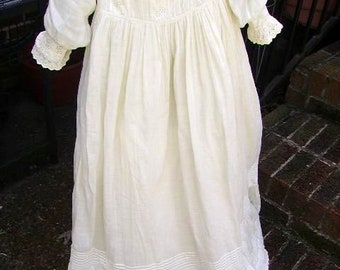 """Antique Vintage Baby Christening Gown/Petticoat/Bonnet/40"""" Long Christening Gown/ Doll Gown"""