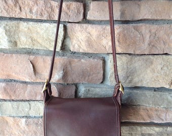 Vintage Coach Legacy Trail Saddle Brown Small Crossbody Leather Purse / 9965