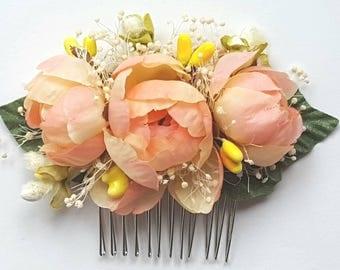 Bridal Hair Comb, Wedding Comb Flower Comb, Floral Wedding Comb, Peach Yellow Bridal Comb, Wedding Flower Comb Brides  Bridesmaids Mother