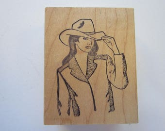 rubber stamp - COWGIRL in cowboy hat - Fistful of Stamps 2003
