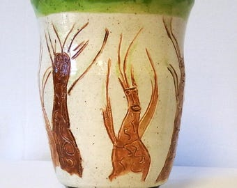 Hand Carved Ent Tree's Stoneware Pottery