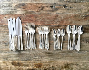 Vintage Mixed Silverware flatware / Mixed Patterns Silver cutlery / assorted patterns mixed lot place setting for 8