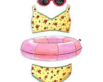 Summer Fun PRINT, Bathing Suit, Watercolor Print, SUMMER, Home Decor, Bedroom Art, Office Decor, Wall Art, Office Decor, Girl Art, SWIMMING
