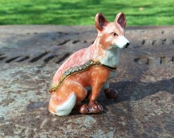Enamel trinket box collectible Fox