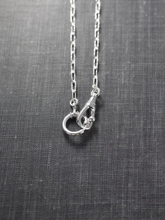 Sterling Silver Guard Chain Necklace, Swivel Clasp & Oversized Spring Ring for Charms - Bejeweled