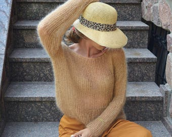 Boho Style Mohair Sweater Light Caramel Knit Top
