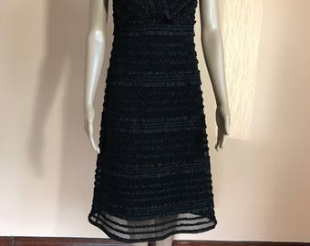 Tadashi dress etsy classy black tadashi neiman marcus ruffle and mesh evening dress womans size 4 junglespirit Gallery