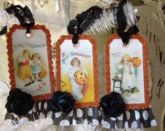 Victorian Halloween tags vintage style party favor tags glittered gift tag cute victorian children and pumpkins mixed media halloween gift