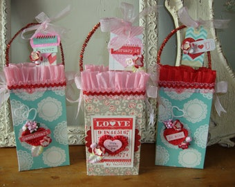 Valentine's day gift bags party favor gift wrap for friend packaging embellished paper bags sacks candy containers treat hostess gift