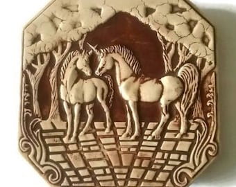 Vintage Unicorn Tile | Clay Tile | Ceramic Art Tile | 3 D Decorative Tile | Raised Ceramic Tiles / Arts & Craft Hand Crafted Tile