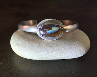 ON SALE 25% Off Koroit Opal  Cabochon Sterling Silver Cuff Bracelet