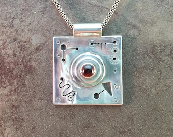 Mid Century Modern Square Garnet and Sterling Metalwork Necklace Pendant