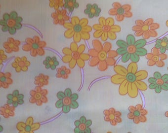 Vintage Floral Fabric Flowers Yellow Material