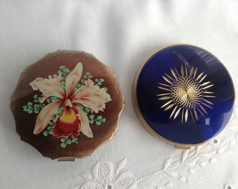 Vintage Compacts, Kigu London Orchid compact, Royal Blue Starburst Compact, Powder Compact