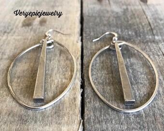 Sterling Silver Hoop Earrings, Upcycled Earrings, Repurposed Earrings, Reclaimed Earrings, Rustic Earrings, Hard Rock Earrings,