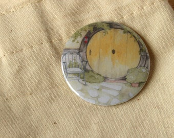 Hobbit Hole. Pin. Button. Pinback Button. Badge. The Shire. Lord Of The Rings