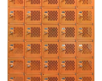 Industrial Locker Set in Orange with Numbered Cubbies and Lockable Pulls