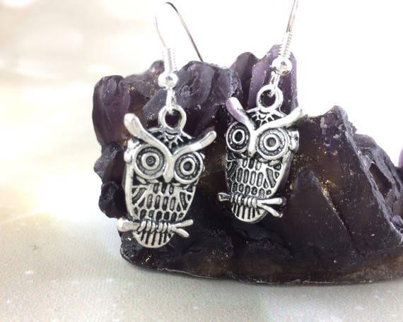 Sterling Silver Modern Owl Earrings