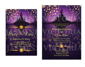 Tangled inspired Wedding Invitation, Save the Date, or RSVP