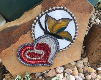 Mosaic butterfly with heart