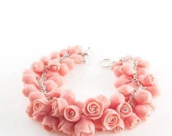 SALE Rose Flower Bracelet ,Sterling  Silver Statement Bracelet with Porcelain  Dusty Pink  Flowers, Bridal  Bracelets, Handmade Wedding Jewe