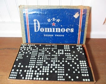 Vintage USA Dominoes, 91 Double Twelve Dominoes, Game, Findings, Farmhouse, Statue of Liberty
